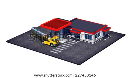 3d rendered illustration of gas station with fuel semi truck and mini-mart or coffe shop isolated on white - stock photo