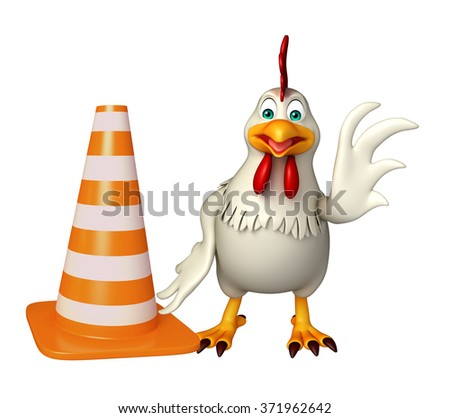 3d rendered illustration of  Hen cartoon character with construction cone  - stock photo