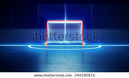 3d rendered illustration of hockey ice rink and goal. Scratches on ice. Shining lines on ice. - stock photo