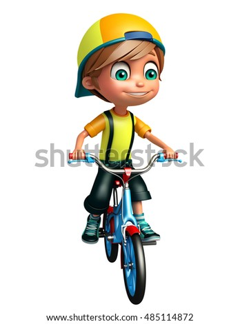 3d rendered illustration of kid boy with bicycle