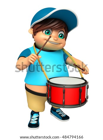 3d rendered illustration of kid boy with Drum & Sticks