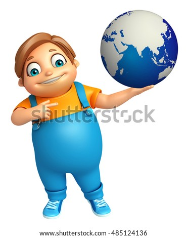 3d rendered illustration of kid boy with Earth sign
