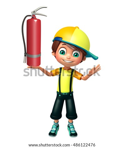 3d rendered illustration of kid boy with fire extinguisher