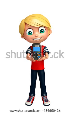 3d rendered illustration of kid boy with swap machine