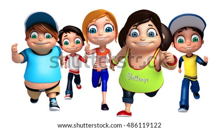 3d rendered illustration of kid girl and kid boy with Running pose