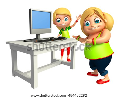 3d rendered illustration of Kid girl with Computer