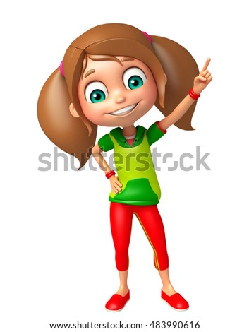 3d rendered illustration of kid girl with Pointing Pose