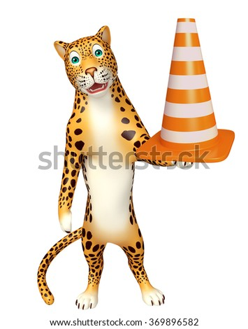 3d rendered illustration of Leopard cartoon character with construction cone - stock photo