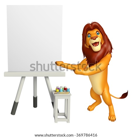 3d rendered illustration of Lion cartoon character with easel board - stock photo