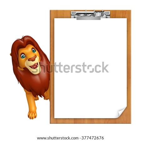 3d rendered illustration of Lion cartoon character with exam pad
