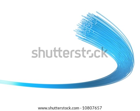3d rendered illustration of many blue fiber optic cables - stock photo