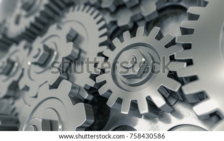 3D rendered illustration of metallic gears and cogs.