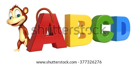 3d rendered illustration of Monkey cartoon character with abcd sign
