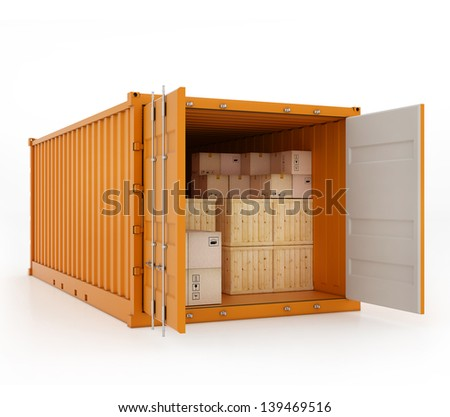 3d rendered illustration of open orange cargo container with boxes inside. Isolated on white - stock photo