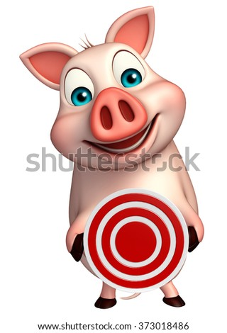 3d rendered illustration of Pig cartoon character with target    - stock photo