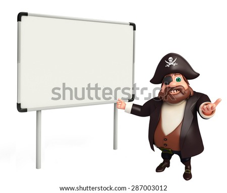 3d rendered illustration of pirate cartoon character - stock photo