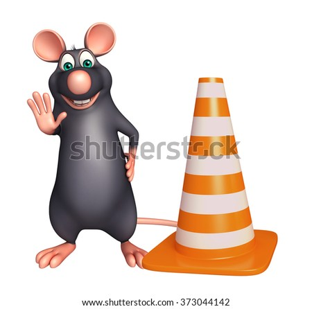 3d rendered illustration of Rat cartoon character with construction cone