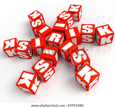"3D rendered illustration of red, dice-like cubes spelling the word ""risk"" with white letters, randomly placed"