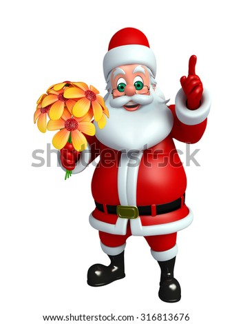 3d rendered illustration of santa claus with flowers