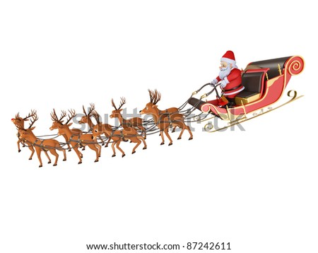 3d rendered illustration of santa with his sleigh - stock photo