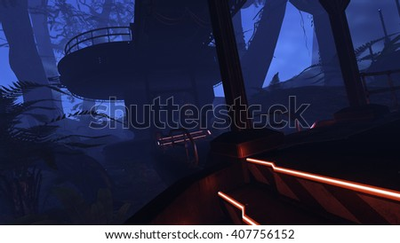3D rendered illustration of sci-fi outpost in deep jungle - stock photo