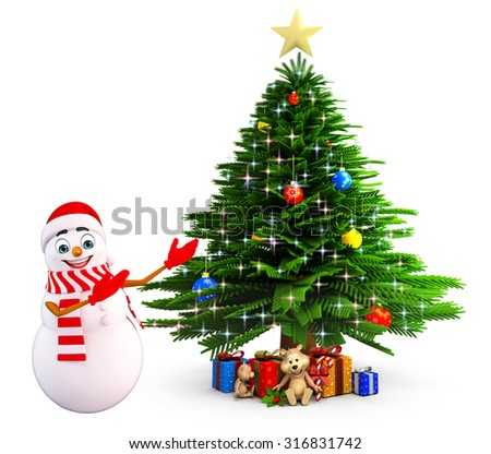 3d rendered illustration of snowman with christmas tree - stock photo