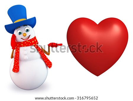 3d rendered illustration of snowman with heart shape - stock photo