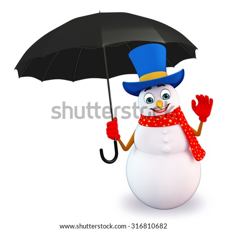 3d rendered illustration of snowman with umbrella