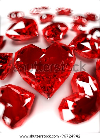 3d rendered illustration of some heart-shaped rubies - stock photo