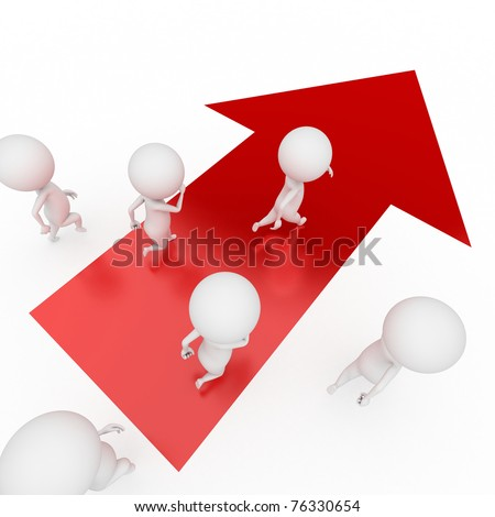 3d rendered illustration of some small guys running - stock photo