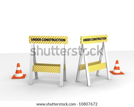 3d rendered illustration of street barriers and traffic cones