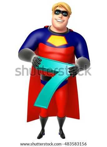 3d rendered illustration of Superhero with Digit 7