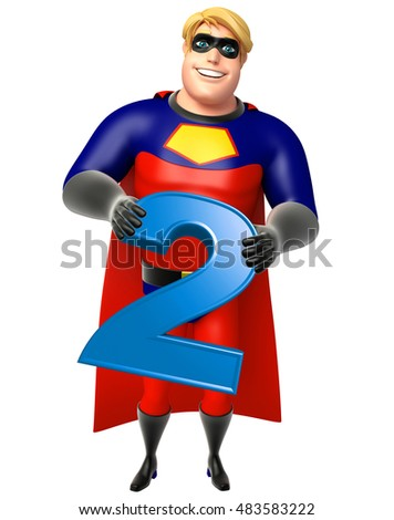 3d rendered illustration of Superhero with Digit 2