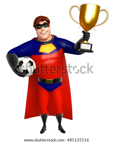 3d rendered illustration of Superhero with Football and Winning cup