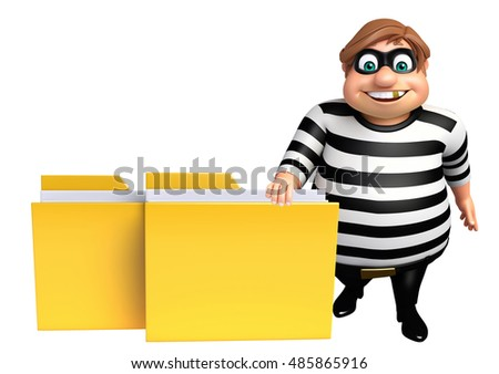 3d rendered illustration of Thief with Folder