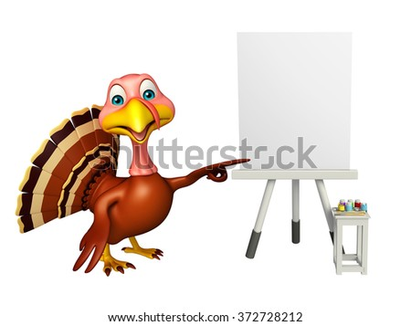 3d rendered illustration of Turkey cartoon character with easel board  - stock photo