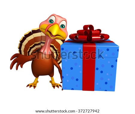3d rendered illustration of Turkey cartoon character with giftbox