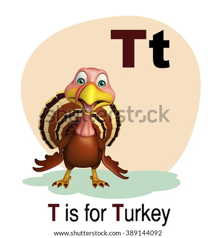 3d rendered illustration of turkey farm animal with alphabet