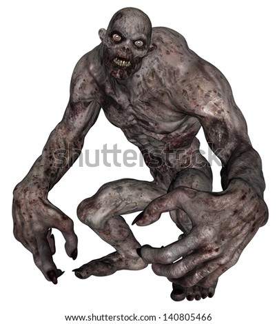 3D rendered illustration of undead creature on white background isolated - stock photo