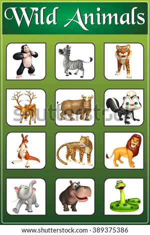 3d rendered illustration of wild animal chart - stock photo
