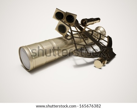 3D rendered illustration sextant and telescope isolated