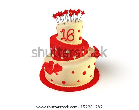 3D rendered illustration the isolated birthday cake