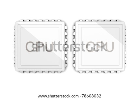 3D rendered Illustration. Two core CPU. Isolated on white. - stock photo
