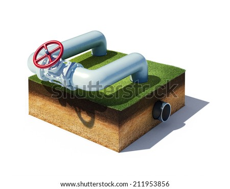 3d rendered illustration valve of industrial pipeline with gas or oil on cross section of ground with grass isolated on white - stock photo