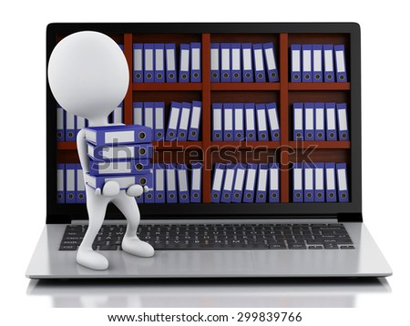 3d rendered image. Archive concept. White people with Laptop and files on isolated white background. - stock photo