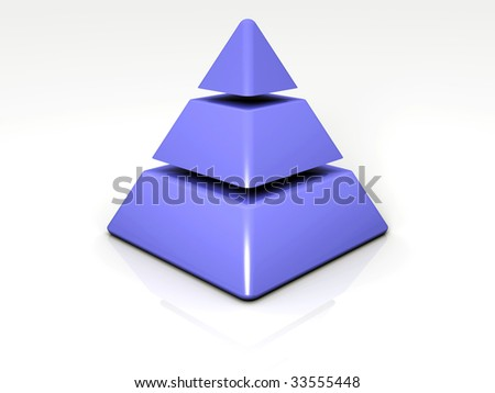 3D rendered image of a 3-layered Pyramid - stock photo