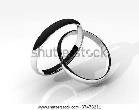 3D rendered image of a pair of silver wedding rings