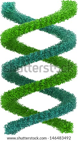 3D rendered Image of  blue and green DNA strand, isolated,  against white background - stock photo
