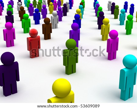 3d rendered image of colorful people