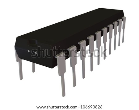 3d rendered image of isolated dual in line DIP20 electronic package - stock photo